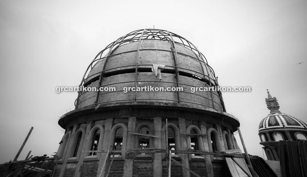 proses pemasangan GRC kubah masjid 6432