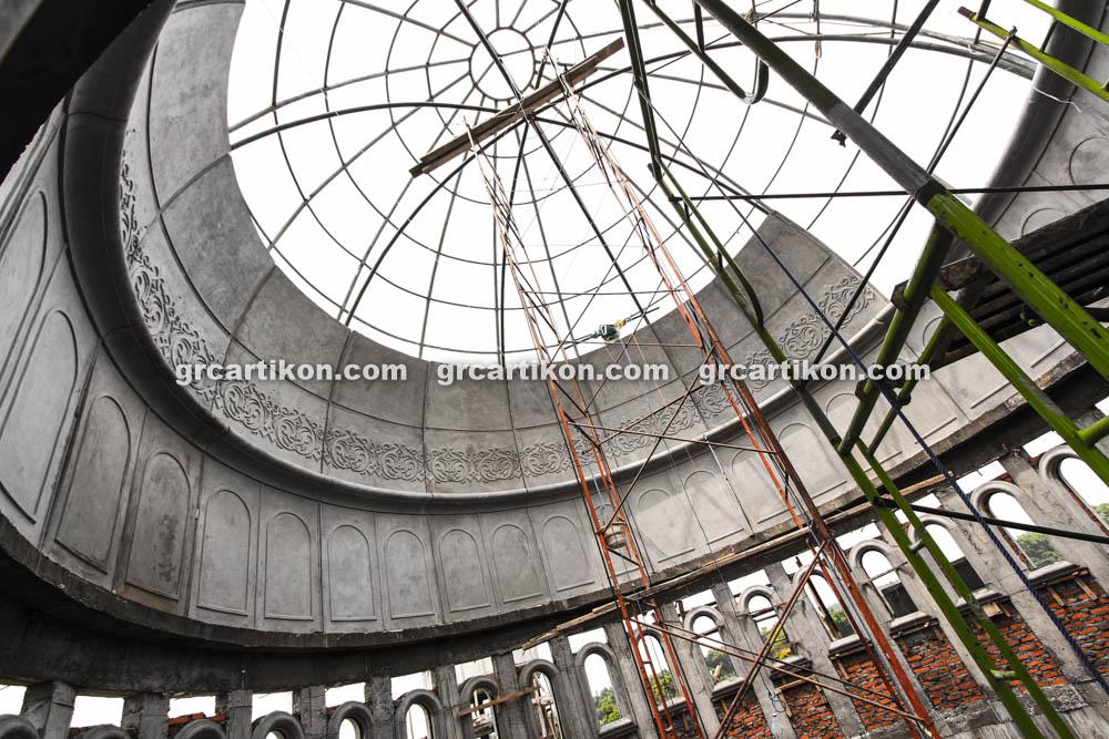 proses pemasangan GRC kubah masjid 6438
