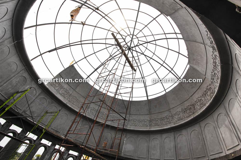 proses pemasangan GRC kubah masjid 6443