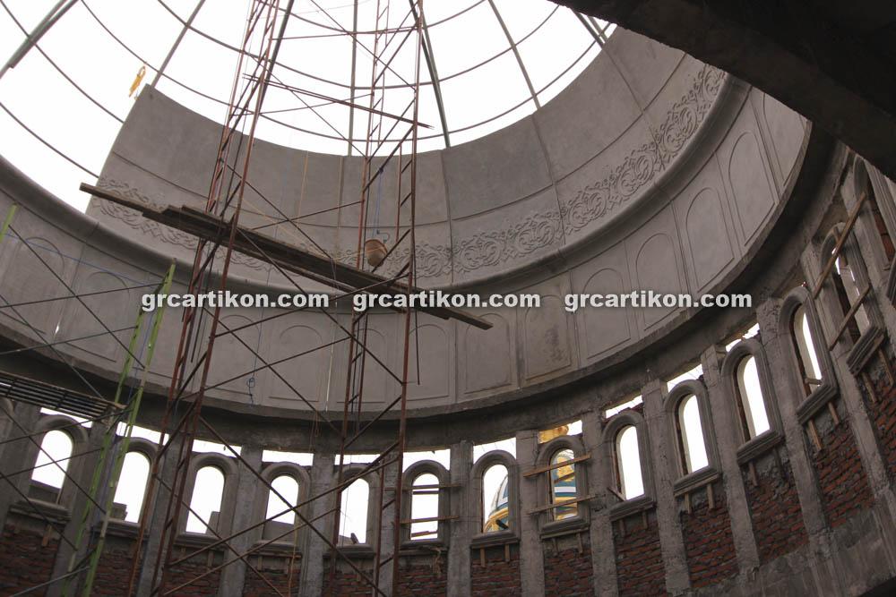 proses pemasangan GRC kubah masjid 6447