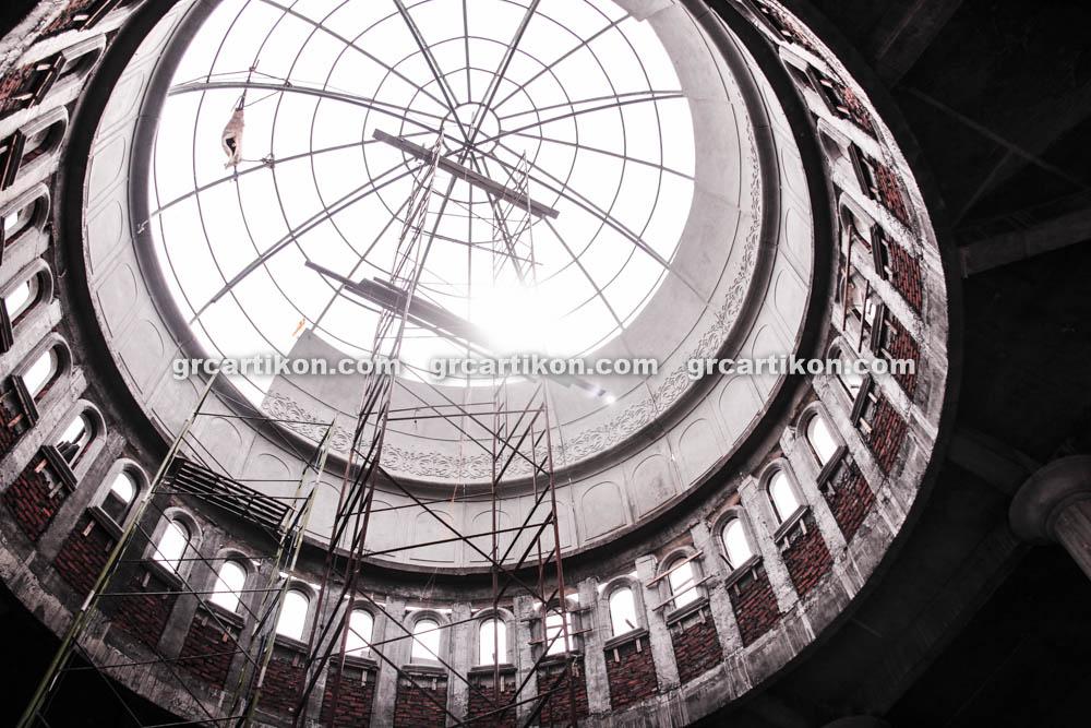 proses pemasangan GRC kubah masjid 6460