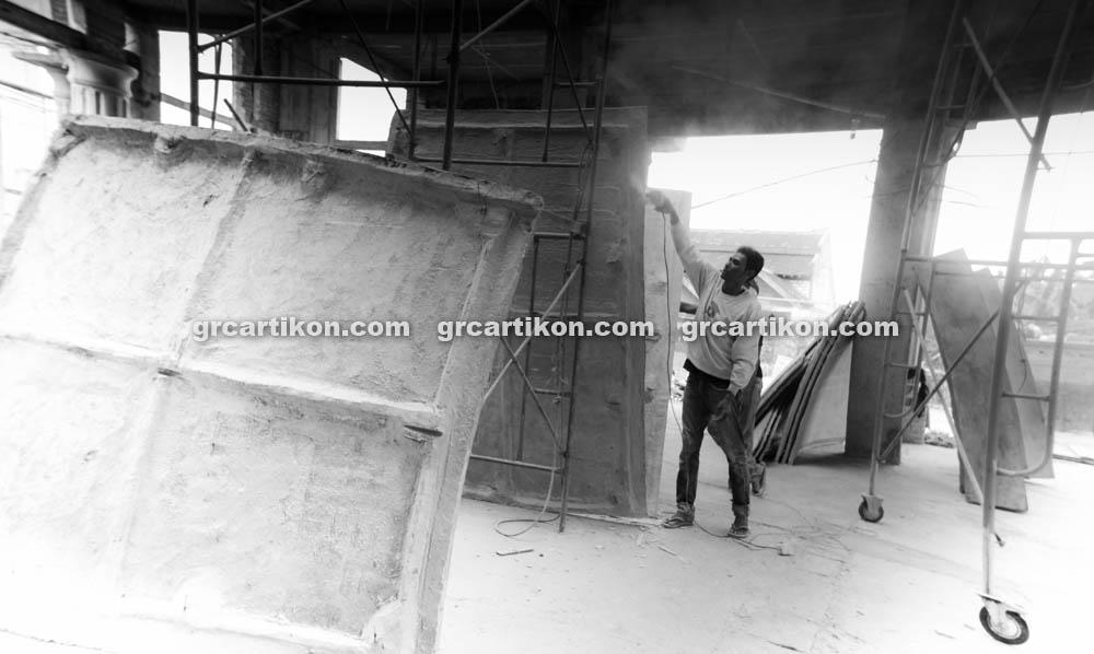 proses pemasangan GRC kubah masjid 6480