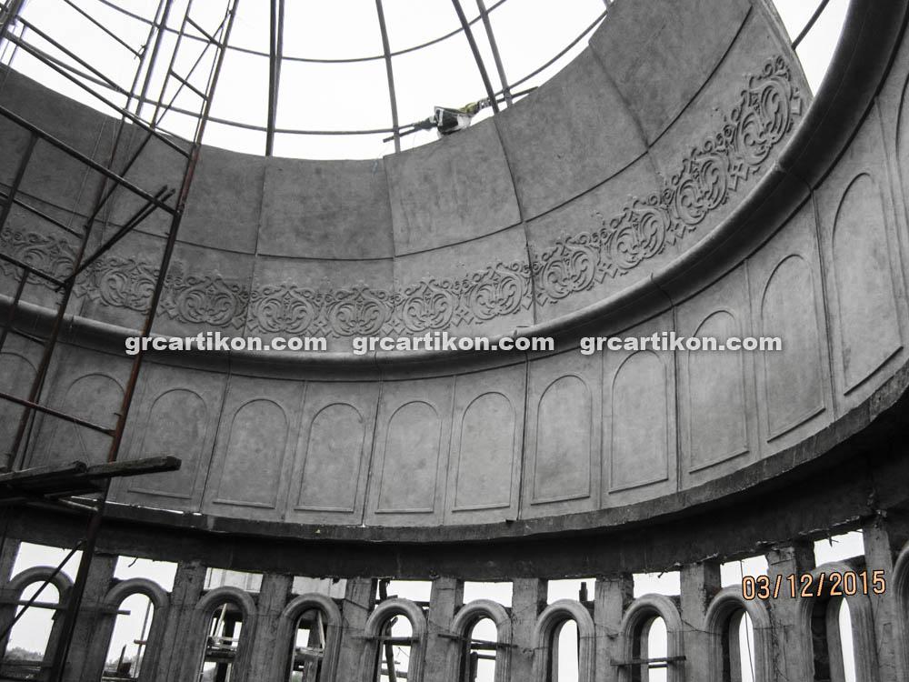 proses pemasangan GRC kubah masjid 7523