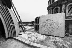 proses pemasangan GRC kubah masjid 6440