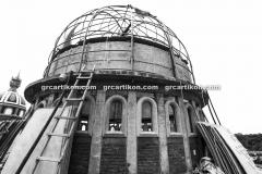 proses pemasangan GRC kubah masjid 6441