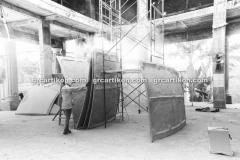 proses pemasangan GRC kubah masjid 6464