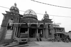 proses pemasangan GRC kubah masjid 6475