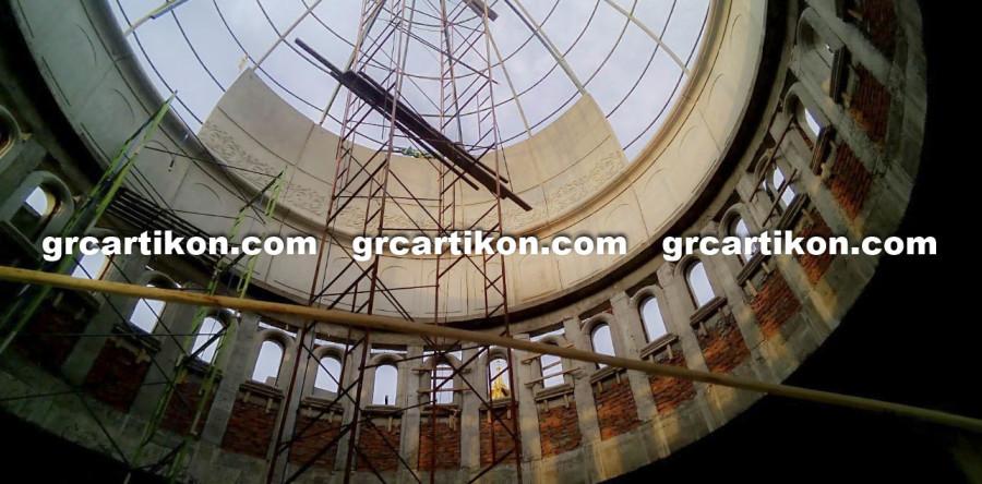 Pemasangan GRC Kubah Masjid